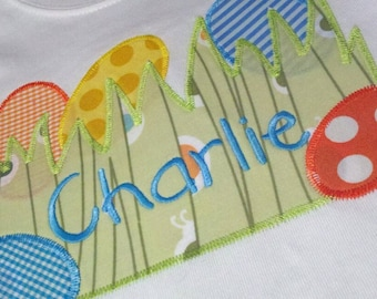 Going on an Egg Hunt Name Plate Machine Applique Design