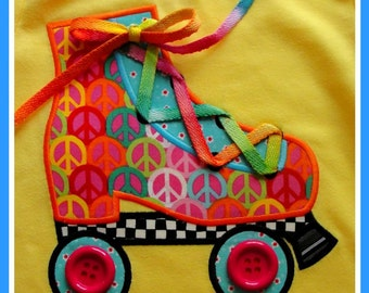 Groovy Roller Skate Machine Applique Design