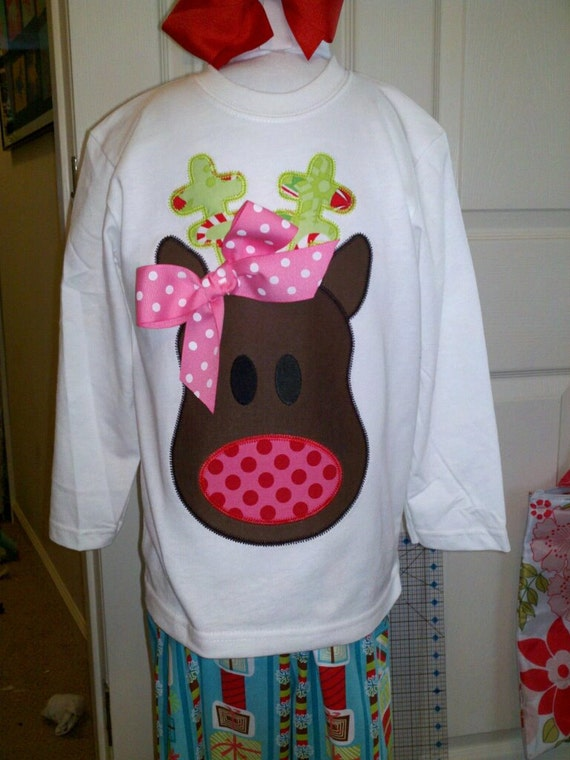 Girl Reindeer Applique Funky Reindeer Girl Machine