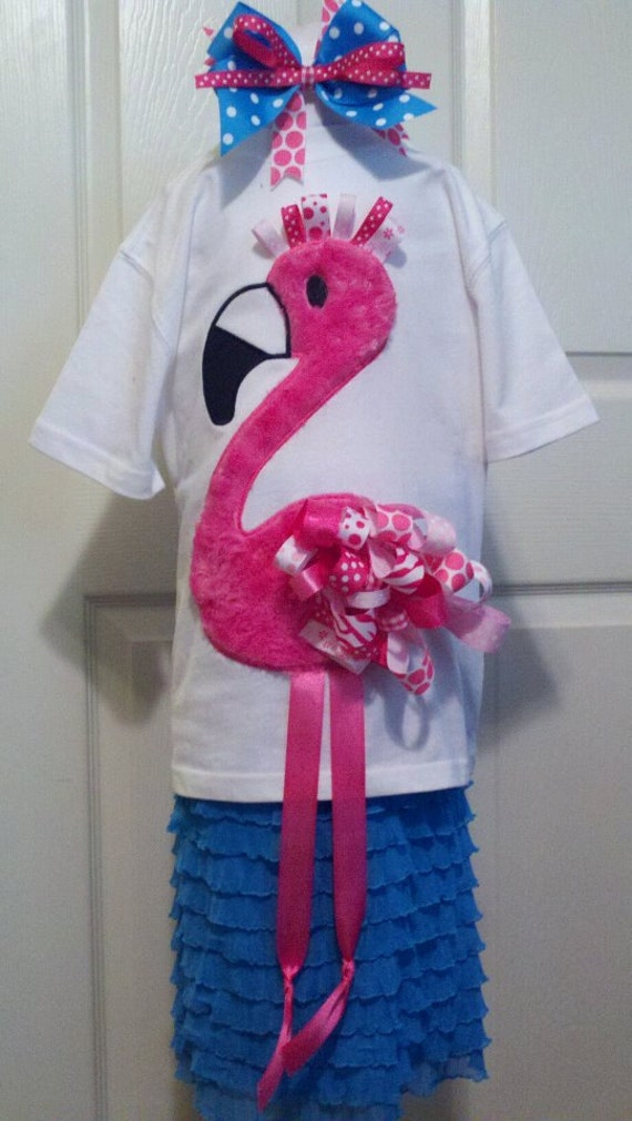 Funky Ribbon Flamingo Digital Embroidery Design