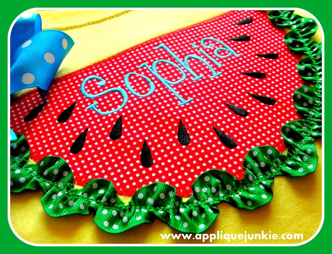 Watermelon Applique, Sizes! FREE! FREE Machine Embroidery