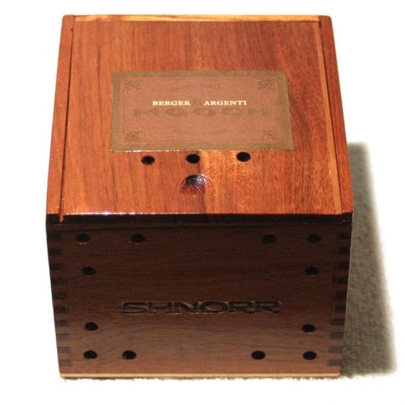 Mooch Wood Cigar Box (NO LONGER MADE) Upcycled for Jewelry or Storage, Berger Argenti Treasure Box