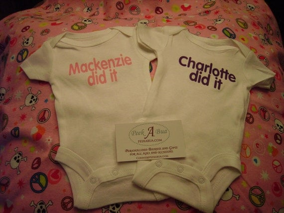 personalized  twin onesies