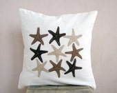 SALE Decorative pillow: starfish in chocolate brown, cinnamon and oatmeal throw pillow cushion, beach cottage decor