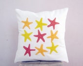SALE Decorative throw pillow: starfish pillow cover in yellow orange and gold