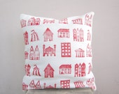 Decorative throw pillow little houses in red and white - hand printed pillow cover, kids or nursery cushion