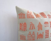 Printed throw pillow: hand printed little houses in tangerine orange on sandy beige cotton pillow cushion cover - EarthLab