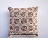 Throw pillow - earthy  chocolate brown and blush pink Indian floral circles, hand printed on beige pillow cover