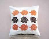 Throw pillow / cushion - hedgehog print in orange and brown fall colors - kids childrens nursery decor