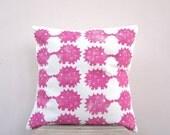 Woodland nursery pillow - hedgehog print in raspberry hot pink, eco friendly  kids pillow, nursery cushion
