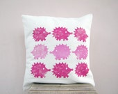 SALE Kids throw pillow - hedgehog print in raspberry hot pink, kids pillow or nursery pillow / cushion cover