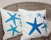 Beach cottage decor pillows: blue, grey turquoise starfish pillows, coastal decor
