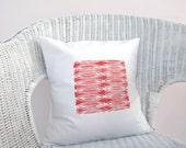 Tangerine throw pillow: orange red geometric print, modern tribal decor pillow cushion cover
