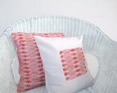 Throw pillow set: tangerine orange red tribal print on eco friendly cotton, geometric pillow cushion cover