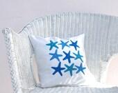 Beach decor pillow: starfish in ocean blue and turquoise, nautical pillow, beach house decor