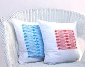 Throw pillow set : tangerine orange red and sky blue afrrican print, modern decor pillow cushion cover