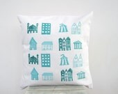 Decorative pillow, house print in aqua, teal, turquoise on white eco friendly cotton pillow