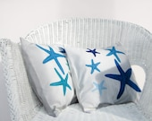 Decorative pillow set of 2: any 2 starfish pillows in blue, grey, turquoise, nautical coastal pillows for beach house decor