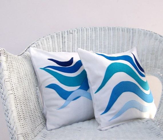 Modern Pillows Etsy : Items similar to Beach pillows set: blue, turquoise waves, modern nautical pillows, beach ...