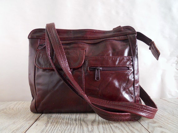 Vintage Deep Red Leather Purse - 70s