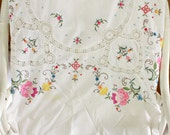 Embroidered And Crochet Lace Spring Flowers White Cotton Tablecloth..Rectangular..Large