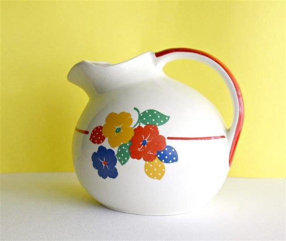 Vintage Water Pitcher -- Hostess ware by Pottery Guild Mid Century by TogetherAgain on Etsy