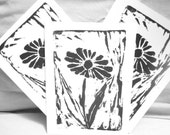 Contrasting Daisy Greeting Cards -Black- Set of Three
