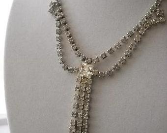 Dazzling Dangle Bow Rhinestone Necklace