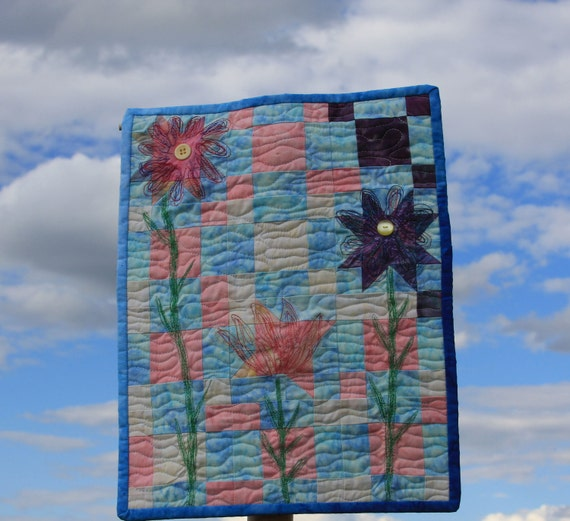Art Quilt, Desert Flowers