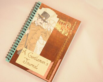 Steampunk journal, A Gentleman's Journal, Steampunk notebook, decorated with collage, mixed media and pyrography