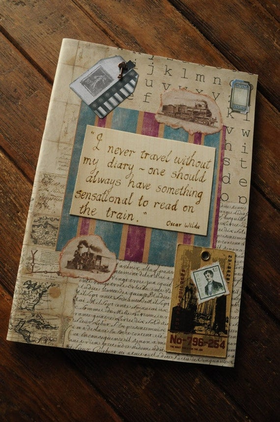 Vintage style Travel Journal embellished with mixed media collage & pyrography engraved Oscar Wilde quote Gift for Dad