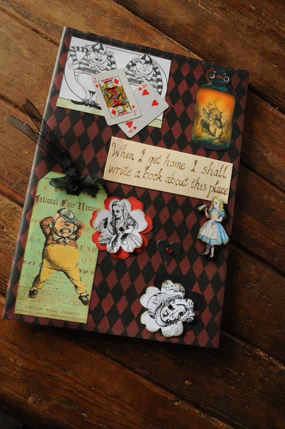 A4 Large Alice In Wonderland sketchbook, journal or scrap book embellished with mixed media collage & heat engraving pyrography, blank pages