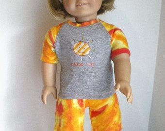 Tie Dye, Tie Dye shorts,  Embroidered T shirt Set, 18 inch Doll Clothes
