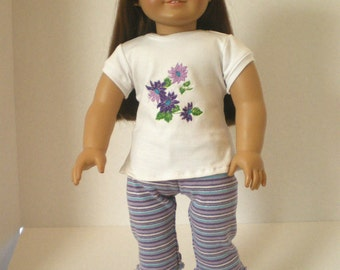 Striped  Leggings, Embroidered  Tshirt, 18 inch Doll Clothes
