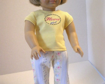 Flower Jeans,  Embroidered  Tshirt,  18 Inch Doll Clothes