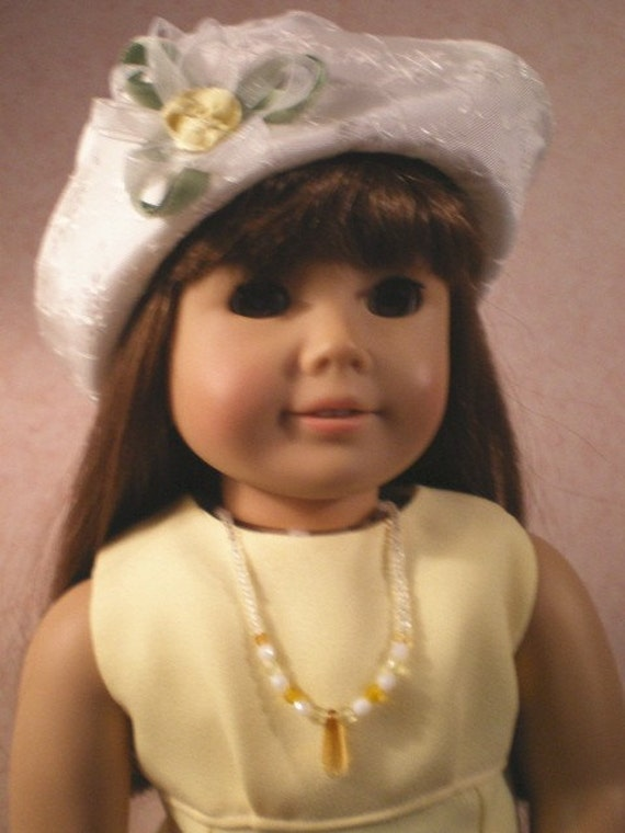 American Girl Doll Clothes, Yellow Flared  Dress,  Jewelry, Hat