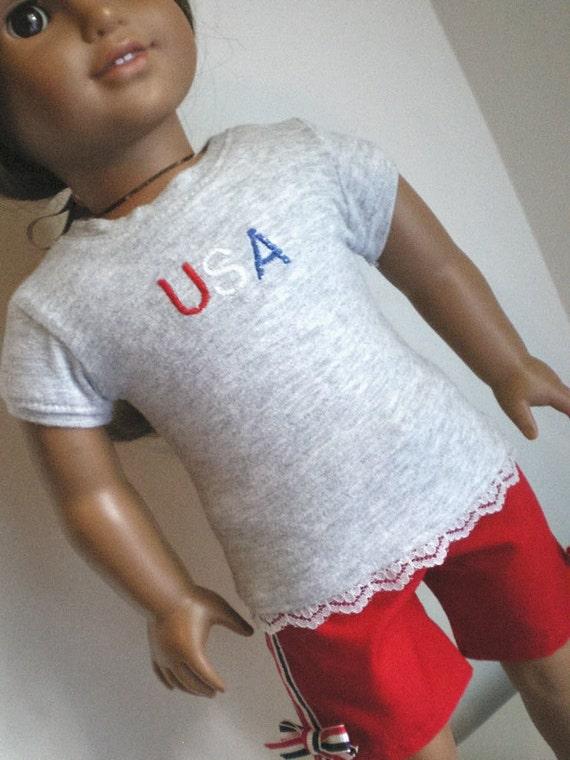 U S A  Shirt ,  Shorts, American Girl Doll Clothes
