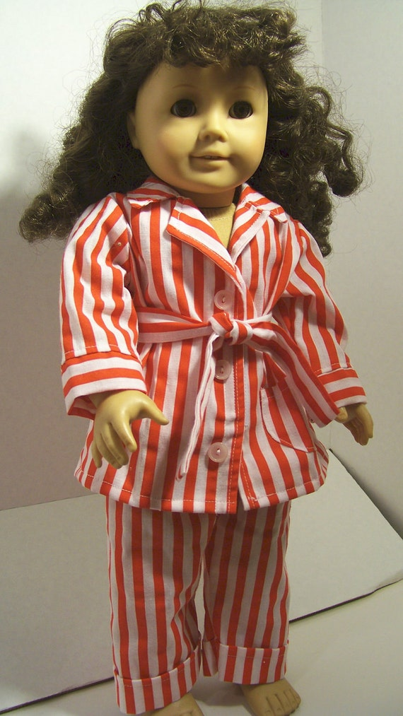 Striped Pajamas, Pajamas ,  Historical Outfit, 18 inch Doll Clothes
