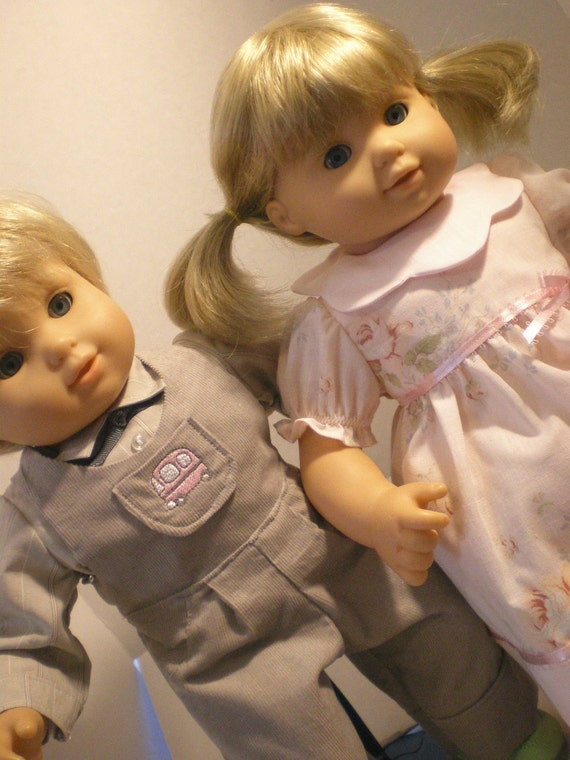 Bitty Twin  Doll Clothes, Pink Party  Dress, Overalls,  Shirt Set