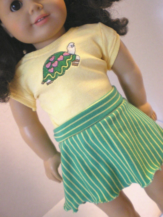 Turtle TShirt,  Striped Skirt, American Girl Doll Clothes