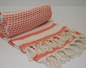 Turkish Bath Towel-Peshtemal-Mathing Natural Cream and Orange