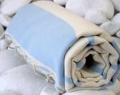 High Quality Hand Woven Turkish Cotton Bath,Beach,Pool,Spa,Yoga,Travel Towel or Sarong-Natural Cream and Pale Blue