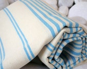 Best Quality,Hand Woven Turkish Cotton Bath Towel or Sarong-Turquoise Stripes on Natural Cream