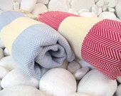 Set of 2-Best Quality Hand-Woven Turkish Cotton Bath Towel,Beach Towel or Sarong-Red, Natural Cream and Pale Blue,Natural Cream,Ivory