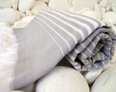 Soft and Light Best Quality Hand Woven Turkish Cotton Bath,Beach,Pool,Spa,Yoga Towel or Sarong-Grey,Gray and White Stripes