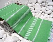 High Quality Hand Woven Turkish Cotton Bath,Beach,Pool,Spa,Yoga Towel or Sarong-White Stripes on Bright Green