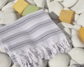 Reserved for Celeste-Soft,Best Quality,Hand Woven,Turkish Cotton Bath Towel or Sarong-Black(Dark Gray) Stripes on White
