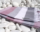 Turkishtowel-High Quality,Hand Woven,Cotton Bath,Beach,Pool,Spa,Yoga,Travel Towel or Sarong-White,Grey and Burgundy Stripes