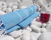 Turkishtowel-High Quality,Hand Woven,Pure Cotton,Bath,Beach,Spa,Yoga,Pool,Travel Towel or Sarong-White Stripes on Turquoise