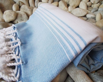 Soft Best Quality ,Hand Woven Turkish Cotton Bath Towel or Sarong-Blue and White Stripes